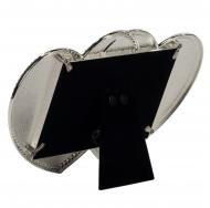 Металлическая фоторамка со стразами в виде сплетённых сердец