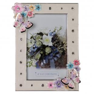 PF10565A бабочки и цветы, белая, металлическая со стразами