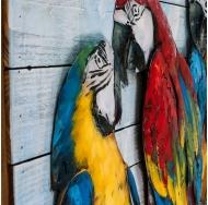 Винтажная интерьерная картина Попугаи