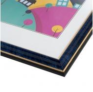 Фоторамка из пластика со стеклом Офис (284) синий/бирюза 15x21