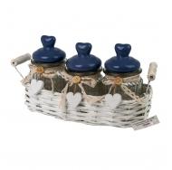 Три винтажных баночки с фарфоровой крышкой в прованском стиле в корзине