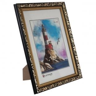 Фоторамка из пластика Садко золото с черным 21x30 с ножкой