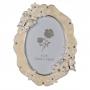 Фоторамка PF10927 10x15 овал, бабочки и цветы, белая, металлическая со стразами /6/24