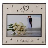 Фоторамка LOVE, белая, металлическая со стразами, размер фото 10х15