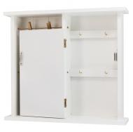 ML-4739 Ключница белая с дверцей и подвесами на прищепках