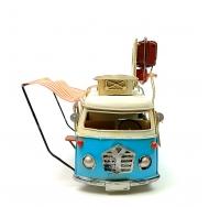 """Винтажная модель Ретро """"Автобус"""" белый с голубым, с фоторамкой /12"""