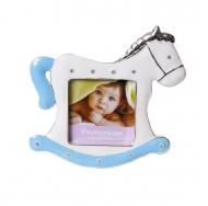 PF9729B BLUE 2.5x2.5 минирамка-сувенир лошадка, голубая, металлическая со стразами /12/36