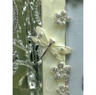 Металлическая фоторамка Platinum - стразы, стрекозы и цветы, белая
