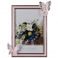 Фоторамка цветы, горизонтальная, металлическая со стразами