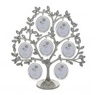 Родословное дерево из металла  с листочками-стразами на семь фотографий.