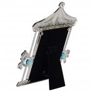 PF9937B BLUE 10x15 карусель с лошадками, голубая, металлическая со стразами /6/24