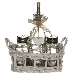 LB16-35/3 Набор ёмкостей в корзине Прованс (солонка 2 шт.+Бутылочка)