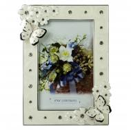 Фоторамка PF10565N 10x15 бабочки и цветы, белая, металлическая со стразами