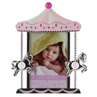 PF9937P PINK 10x15 карусель с лошадками, розовая, металлическая со стразами /6/24