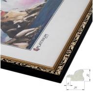 Фоторамка из пластика со стеклом Садко золото с черным 40x60