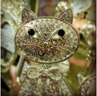 PF10255 5x8 минирамка-сувенир, котёнок, металлическая со стразами /12/48