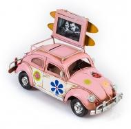 """Фольксваген Жук - Volkswagen Käfer - декоративная винтаж-модель с фоторамкой 1404E-4338 Модель Ретро """"Автомобиль"""" розовый, с фоторамкой и копилкой /6"""