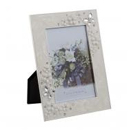 Фоторамка цветы и бабочки, металлическая со стразами
