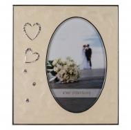 PF1418-4 10x15 свадьба, сердца, металлическая фоторамка со стразами /6/24