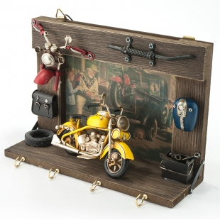Винтажная фоторамка-ключница Мотоцикл