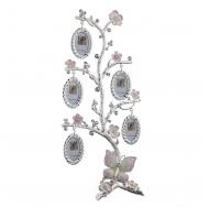 Рамка для фотографий в виде веток с цветами, стразами и бабочкой  на 5 фото