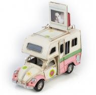 """Фольксваген Жук - Volkswagen Käfer - декоративная винтаж-модель с фоторамкой 1404E-4346 Модель Ретро """"Автомобиль"""" белый с розовым фургон, с фоторамкой /6"""