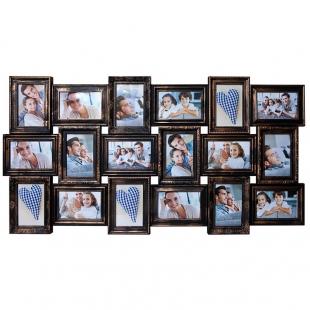 BIN-112244 BIN-112244 Винтажный фотоколлаж мультирамка на 18 фотографий, чёрный с золотом.