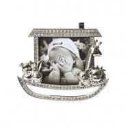 PF9271-3 8x8 минирамка-сувенир, кораблик, металлическая со стразами /12/36