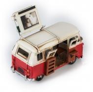 """Винтажная модель Volkswagen Transporter T2 Ретро """"Автобус"""" красный с белым с фоторамкой"""