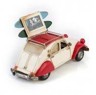 Citroën 2CV / Ситроен 2СВ - декоративная винтаж-модель с фоторамкой  и копилкой; белый с красным