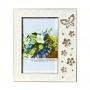 Металлическая фоторамка Platinum - стразы, бабочка и цветы, белая