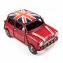1510E-5285 Модель Ретро Автомобиль красный, британский флаг на крыше