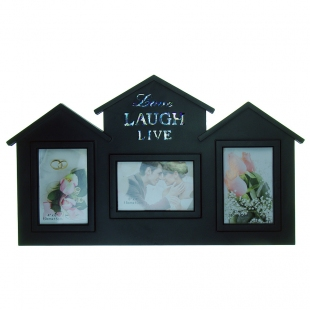 "BH-1501-Black-Чёрный, 3 фоторамки ""Love, Laugh, Live"""