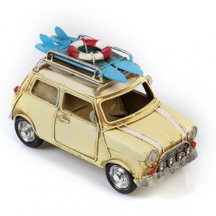 Модель Mini Cooper ретро автомобиль белый, с фоторамкой и копилкой