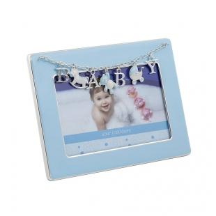 Металлическая фоторамка BABY, цвет голубой, размер фото 10х15