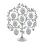 Родословное дерево из металла с листочками-стразами на восемь фотографий.