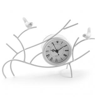 ML-1366 White Часы настольные белые -Птицы на ветках-