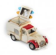 Citroën 2CV / Ситроен 2СВ - декоративная винтаж-модель  БЕЛЫЙ С КРАСНЫМ, С ФОТОРАМКОЙ И ПОДСТАВКОЙ ДЛЯ РУЧЕК /12
