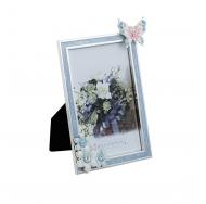 Металлическая голубая фоторамка со стразами Бабочки+Цветы, размер фото 10х15