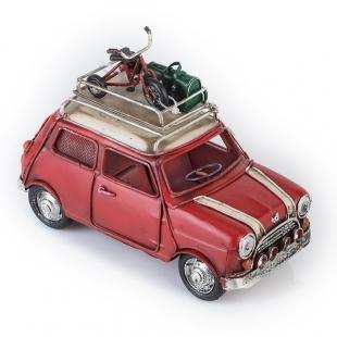 Модель Mini Cooper ретро автомобиль красный, с фоторамкой и копилкой