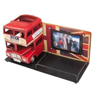 1410E-4784 Винтажная фоторамка с подставкой для ручек Лондонский автобус