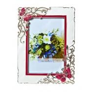 PF9870R-4 10x15 бабочки, белая с красным, металлическая со стразами /6/24