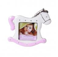 PF9729P PINK 2.5x2.5 минирамка-сувенир лошадка, розовая, металлическая со стразами