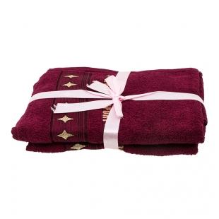 Набор из 2 полотенец Бордовый