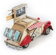 Citroën 2CV / Ситроен 2СВ - декоративная винтаж-модель белый с красным, с фоторамкой и копилкой /6