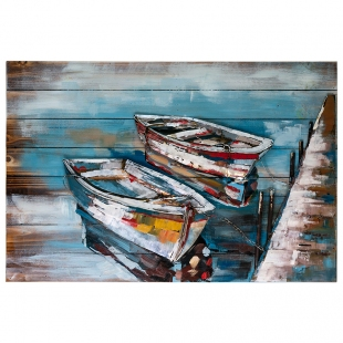 Винтажная интерьерная картина Лодки у причала