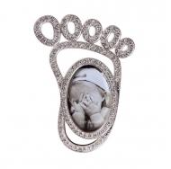 PF8922-2 2x3 минирамка-сувенир детская ножка, металлическая со стразами /12/36