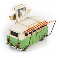 """Винтажная модель Volkswagen Transporter T2  Ретро """"Автобус"""" зелёный с белым, с фоторамкой /12"""