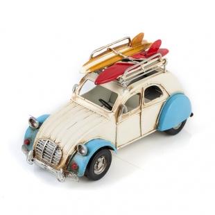 Citroën 2CV / Ситроен 2СВ - декоративная винтаж-модель, БЕЛЫЙ С СИНИМ, С ФОТОРАМКОЙ И ПОДСТАВКОЙ ДЛЯ РУЧЕК /12