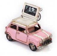 Модель Mini Cooper ретро автомобиль розовый, с фоторамкой /12